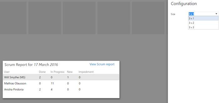 View scrum report Widget config